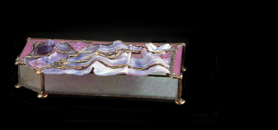 Glass Work Hand-wrought Drapery Jewelry Box